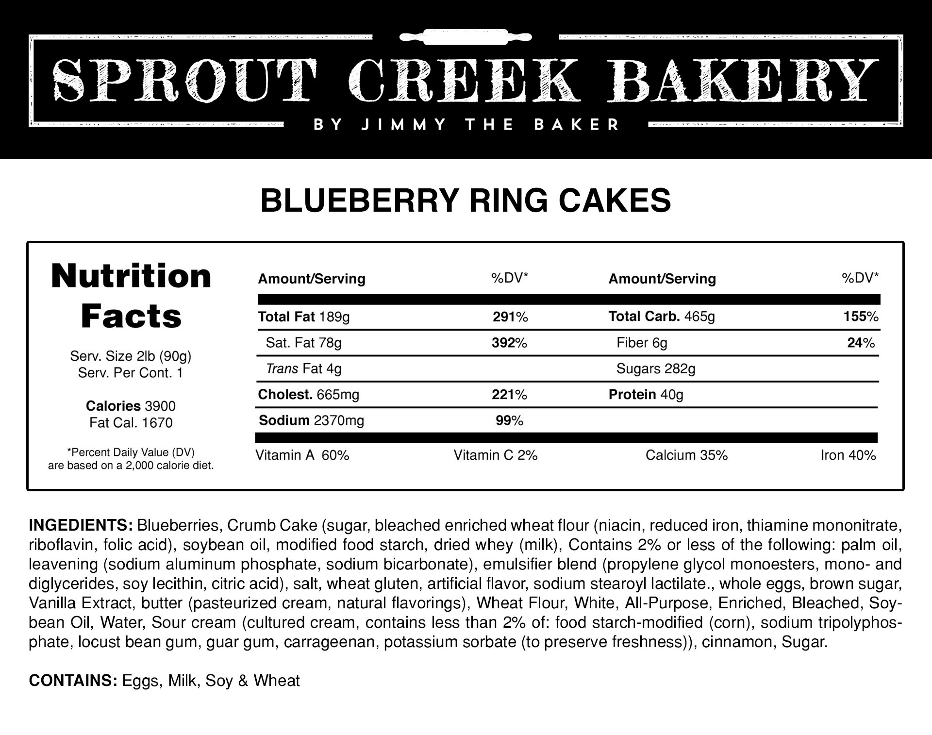 Blueberry Ring Cake Nutrition Facts