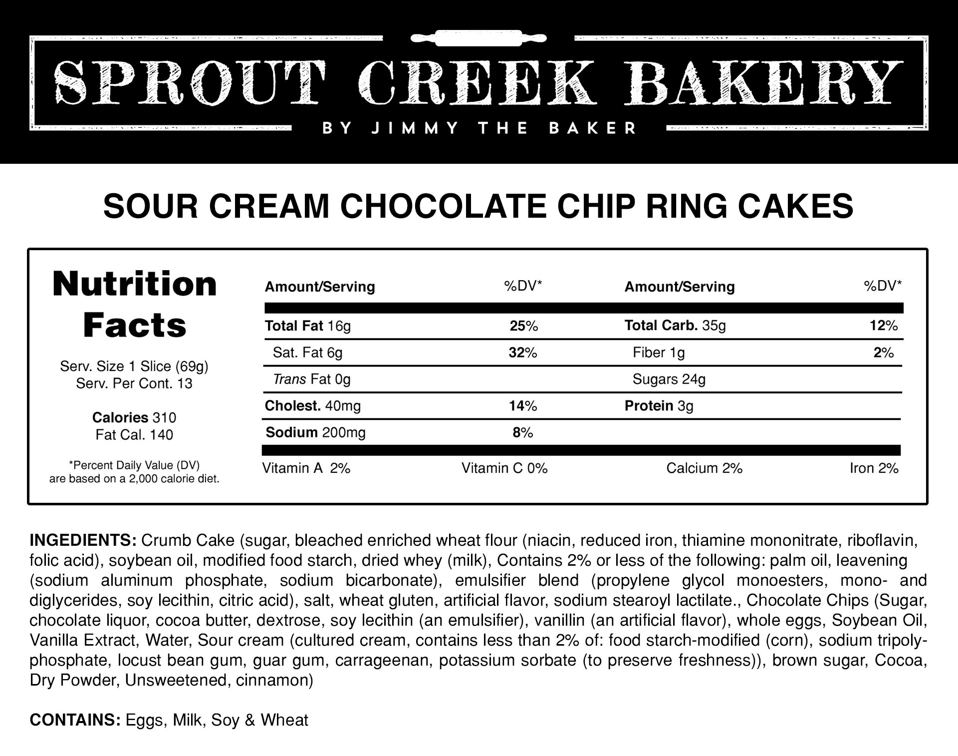 Sour Cream Chocolate Chip Ring Cake Nutrition Facts